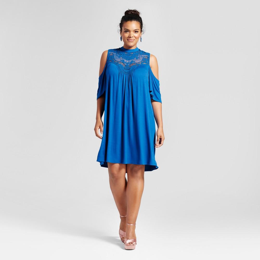Womens Plus Size Cold Shoulder Lace Yoke Blouse Lapis 2X - 3Hearts (Juniors), Blue