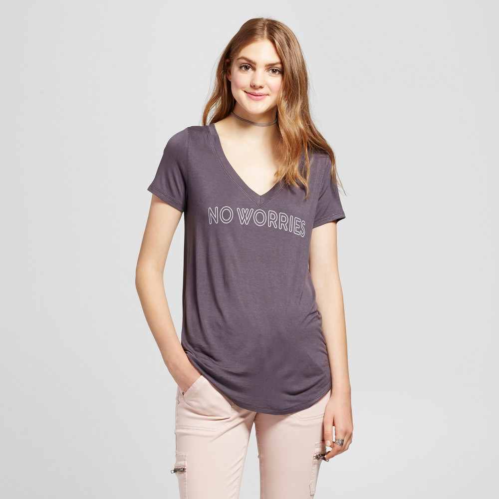 Womens No Worries Graphic T-Shirt Charcoal M - Zoe+Liv (Juniors), Gray