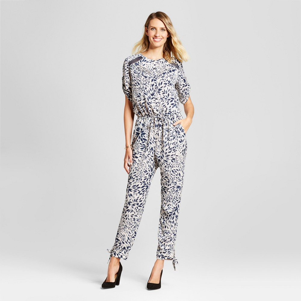 Womens Leaf Printed Jumpsuit with Lace Insets - Isani for Target Navy/Cream L, Beige