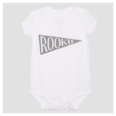 Baby Rookie Baby Short Sleeve Bodysuit - White 3M