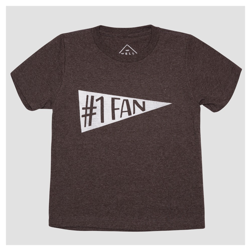 Toddler Boys No. 1 Fan Short Sleeve T-Shirt - Heather Charcoal 5T, Gray
