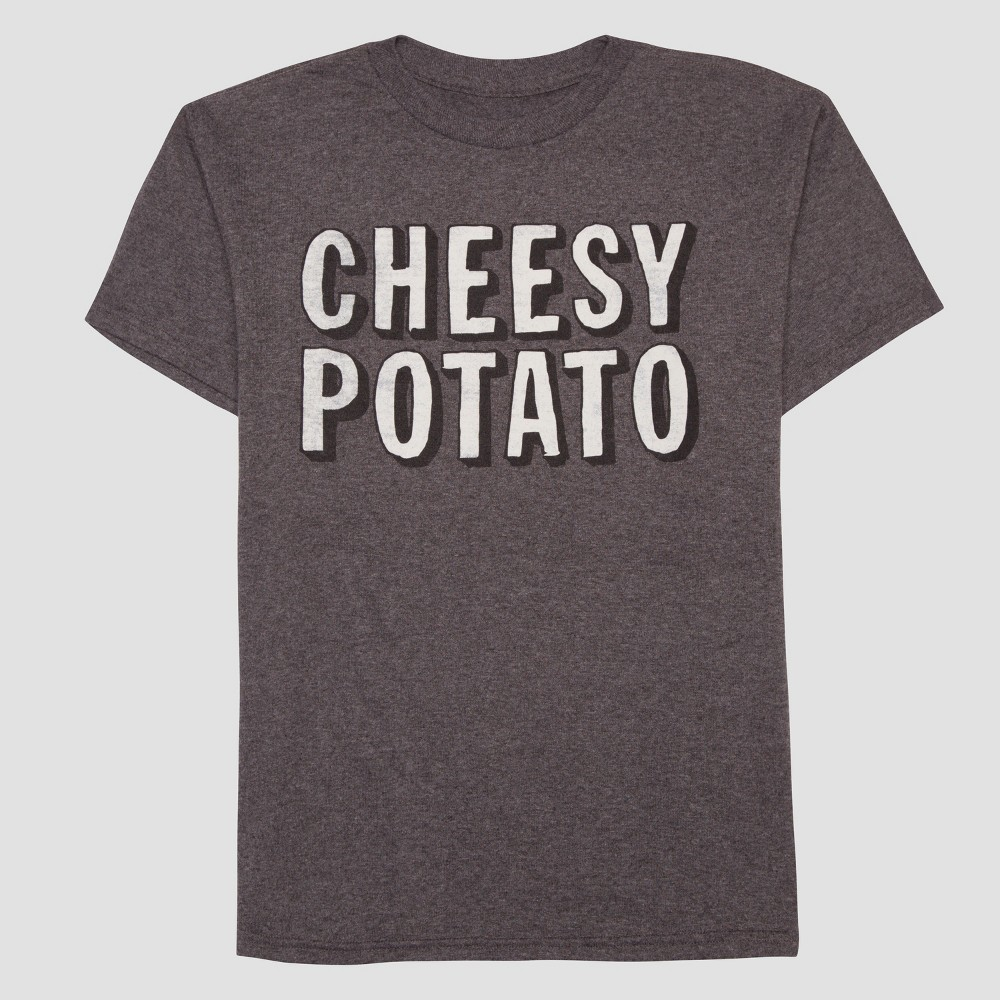Boys Cheesy Potato Short Sleeve T-Shirt - Heather Charcoal M, Gray