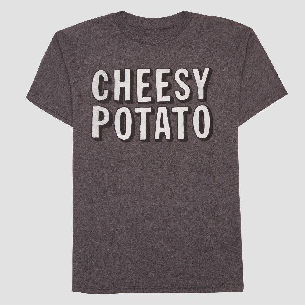 Boys Cheesy Potato Short Sleeve T-Shirt - Heather Charcoal XS, Gray
