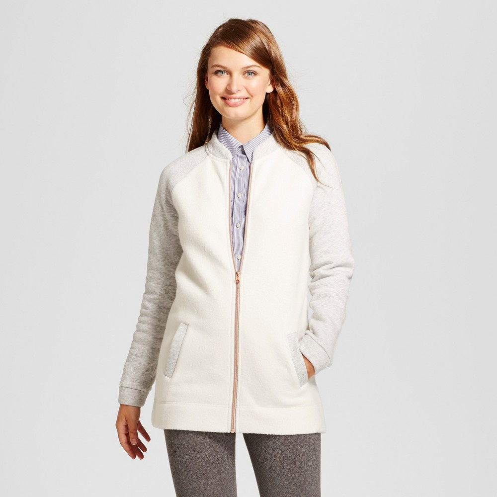 Womens Fleece Bomber Jacket - A New Day Cream S, White