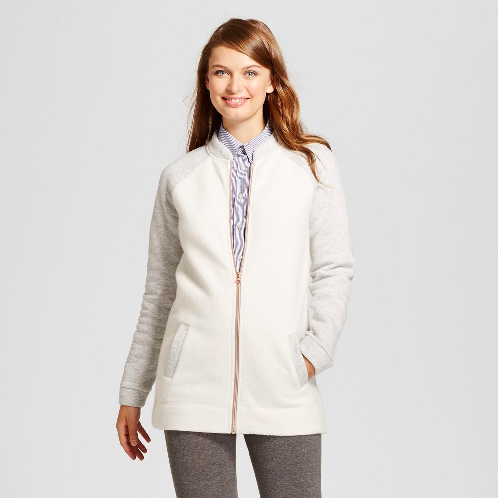 Womens Fleece Bomber Jacket - A New Day Cream M, White