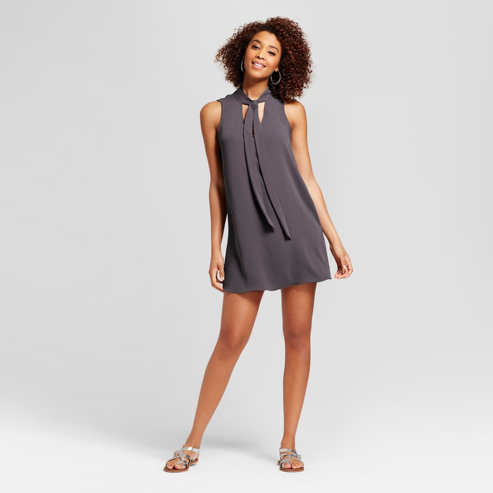 Womens Tie Neck Shift Dress - Le Kate (Juniors) Gray M