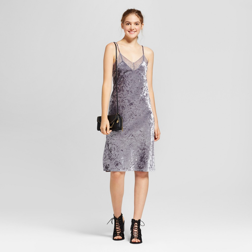 Women's Crushed Velet Strappy Dress - Mossimo Supply Co. Gray M