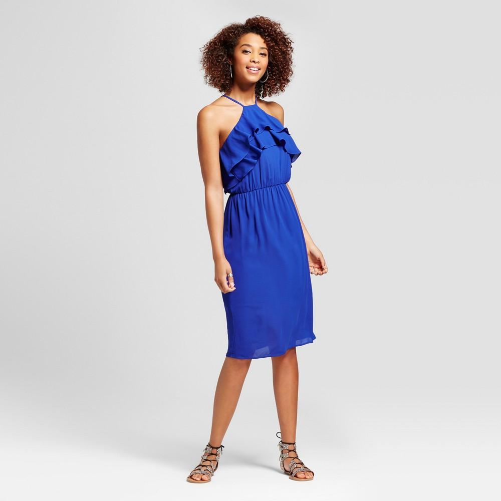 Womens Ruffle Y Neck Dress - Le Kate (Juniors) Blue S