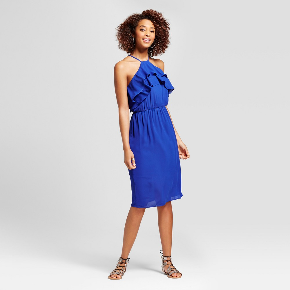 Womens Ruffle Y Neck Dress - Le Kate (Juniors) Blue XL