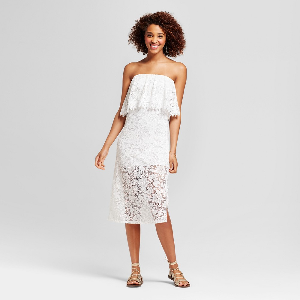 Womens Lace Popover Strapless Maxi Dress - Le Kate (Juniors) White M