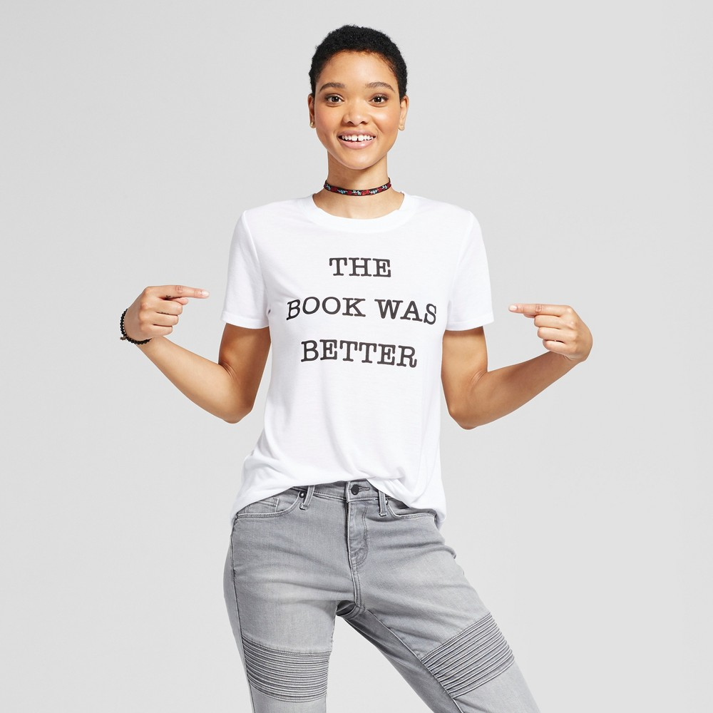 Womens The Book Was Better Graphic T-Shirt White S - Modern Lux (Juniors)