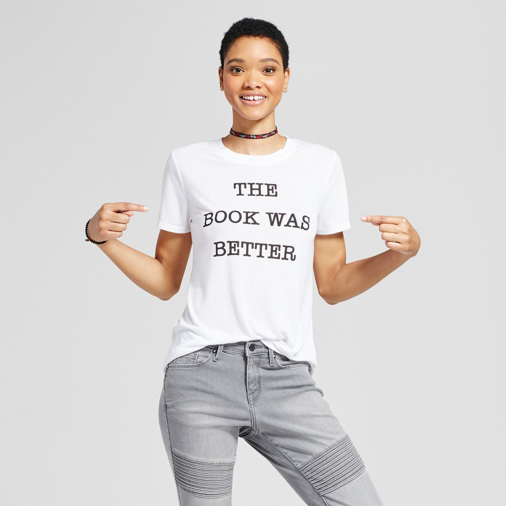 Womens The Book Was Better Graphic T-Shirt White XL - Modern Lux (Juniors)