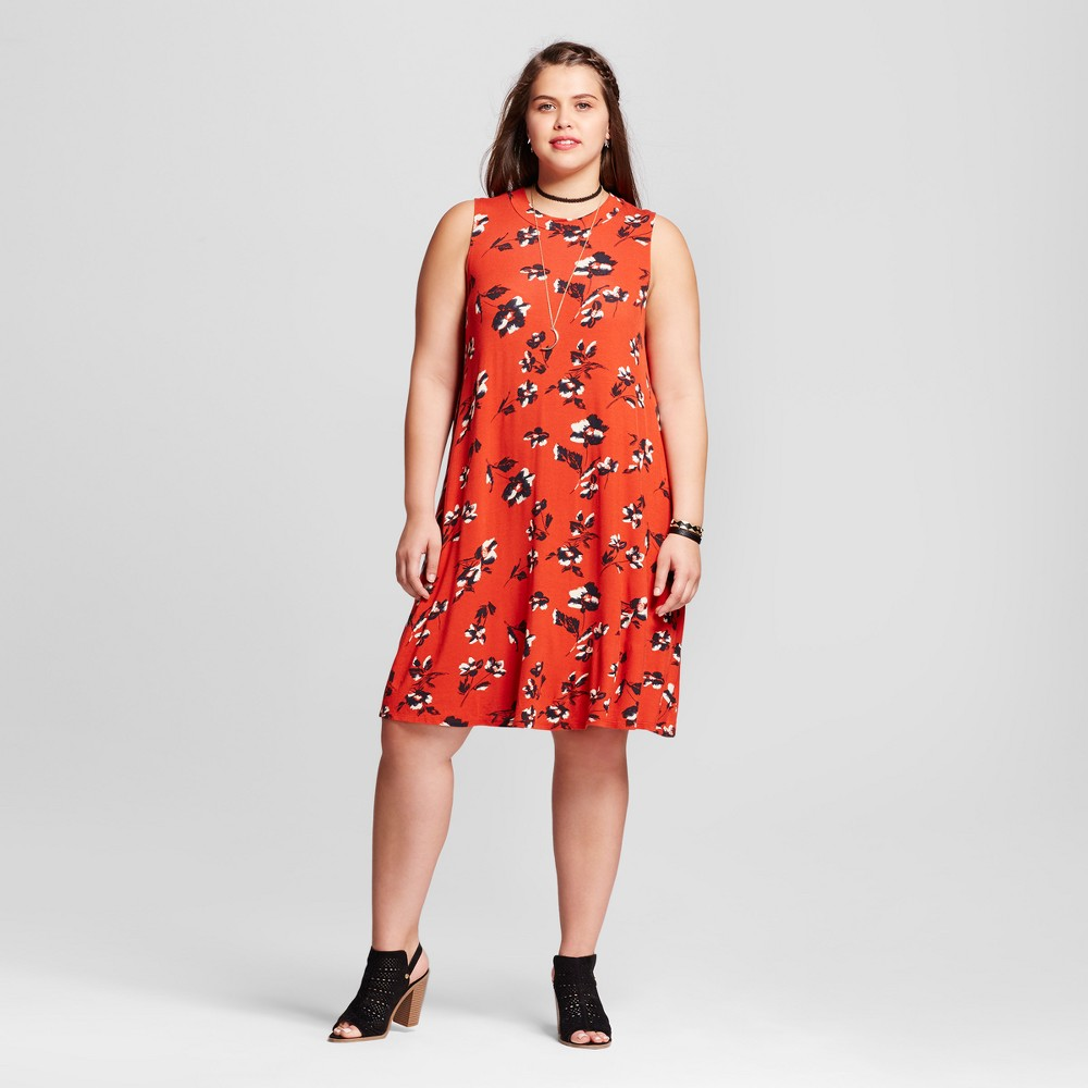Womens Plus Size Floral Sleeveless Dress Rust/black/natural 2X - 3Hearts (Juniors), Black Red White