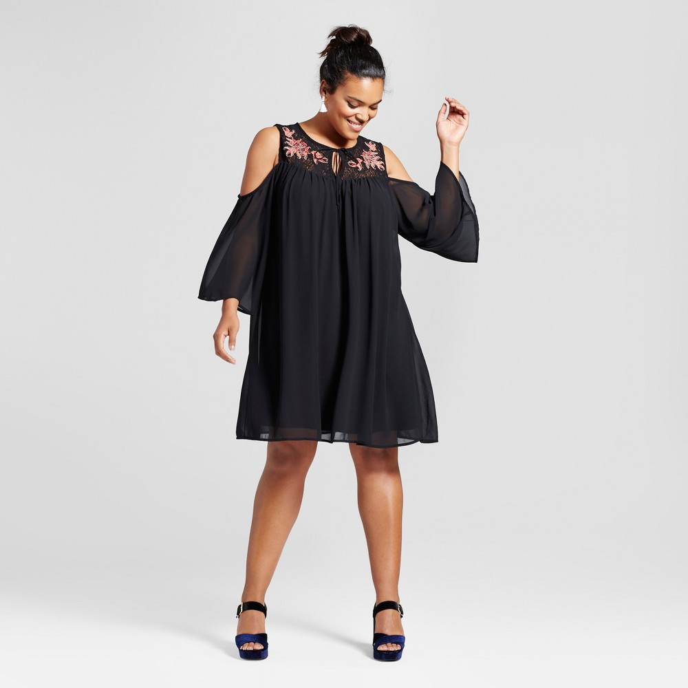 Womens Plus Size Embroidered Cold Shoulder Dress Black 1X - 3Hearts (Juniors)
