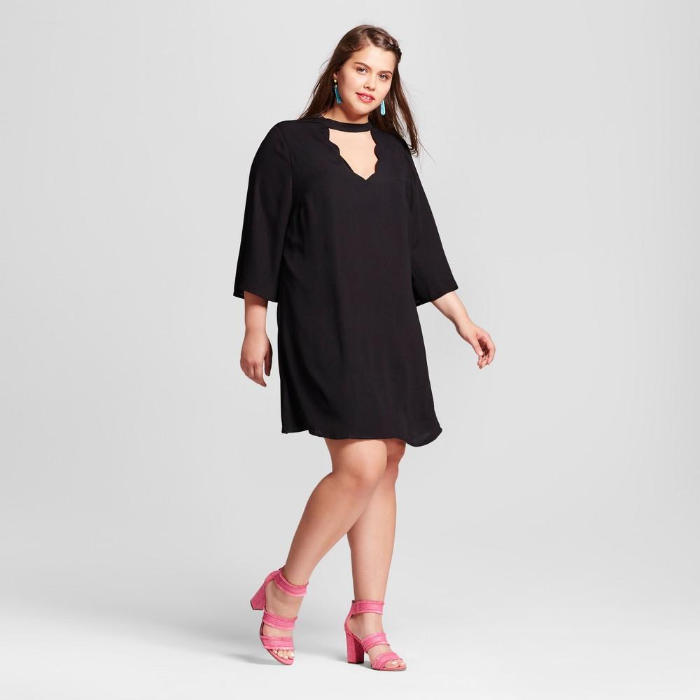Womens Plus Size Scallop Dress Black 3X - 3Hearts (Juniors)