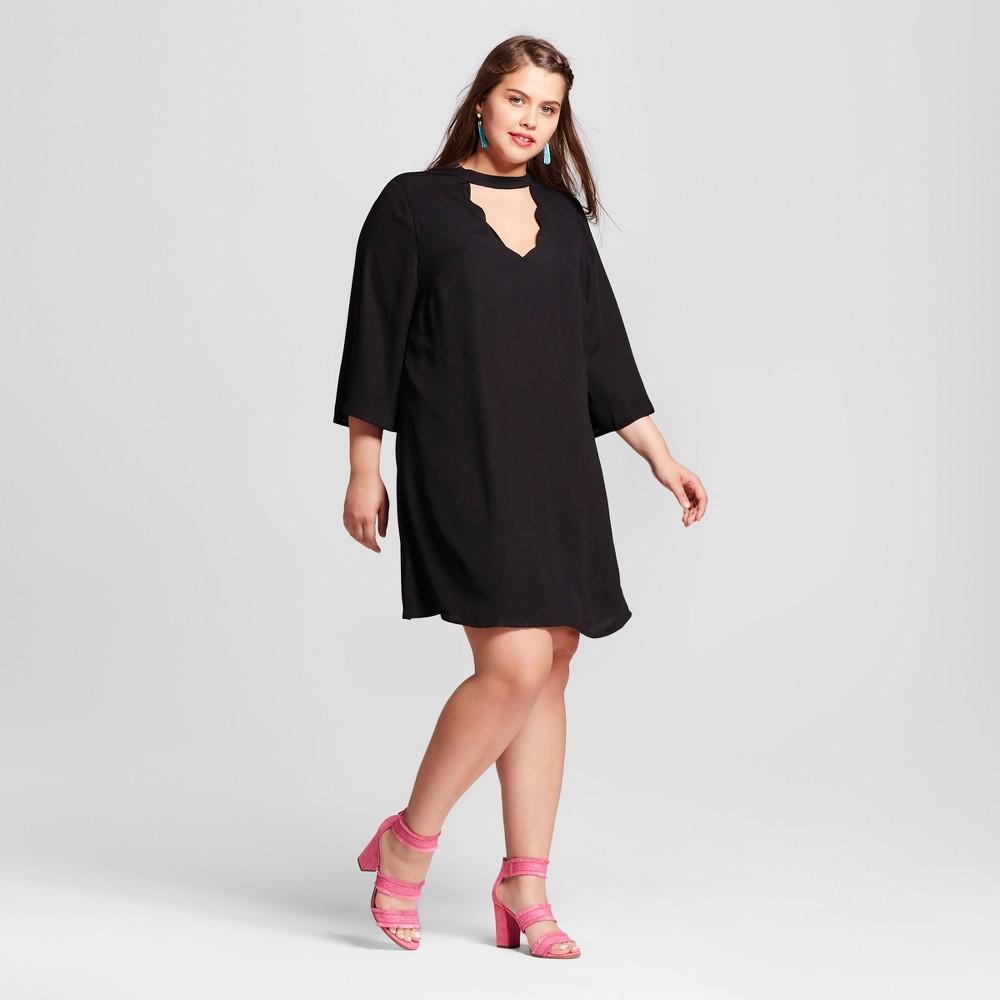 Womens Plus Size Scallop Dress Black 1X - 3Hearts (Juniors)