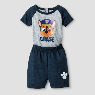 Baby Boys' PAW Patrol Chase Short Sleeve Bodysuit and Short Set - Blue 3-6M