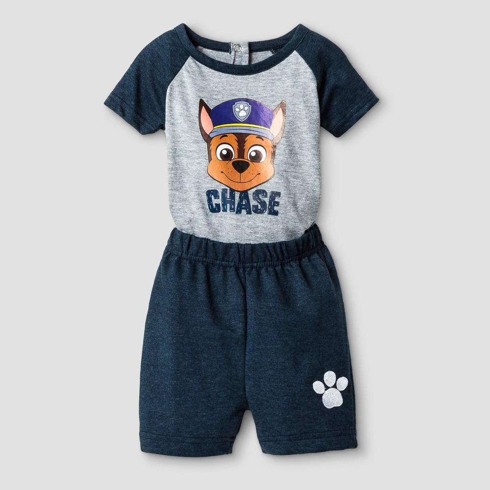 Baby Boys Paw Patrol Chase Short Sleeve Bodysuit and Short Set - Blue 3-6M, Size: 3-6 M