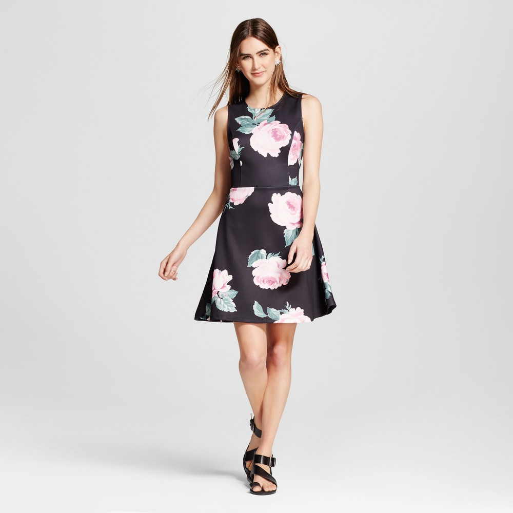 Womens Floral Scuba Fit & Flare Dress - Alison Andrews XL, Multicolored