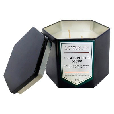 Hexagon Black Tin Candle - Black Pepper Moss - 11oz - The Urban Collection by Chesapeake Bay Candle