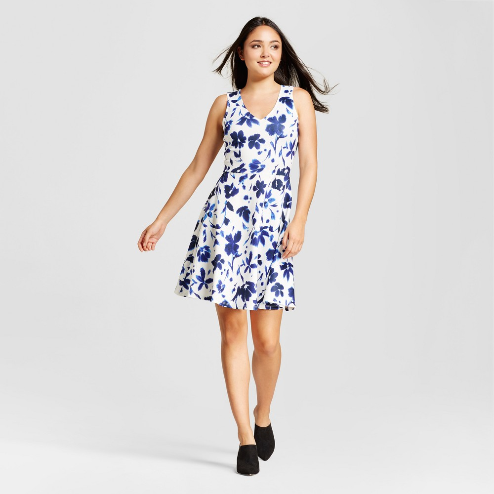 Womens Printed Scuba Fit & Flate Dress - Alison Andrews - L, Multicolored