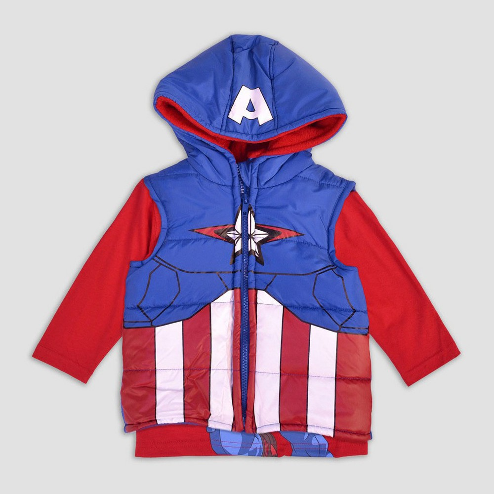 Toddler Boys Captain America Costume Vest And Shirt Set - 2T, Multicolored