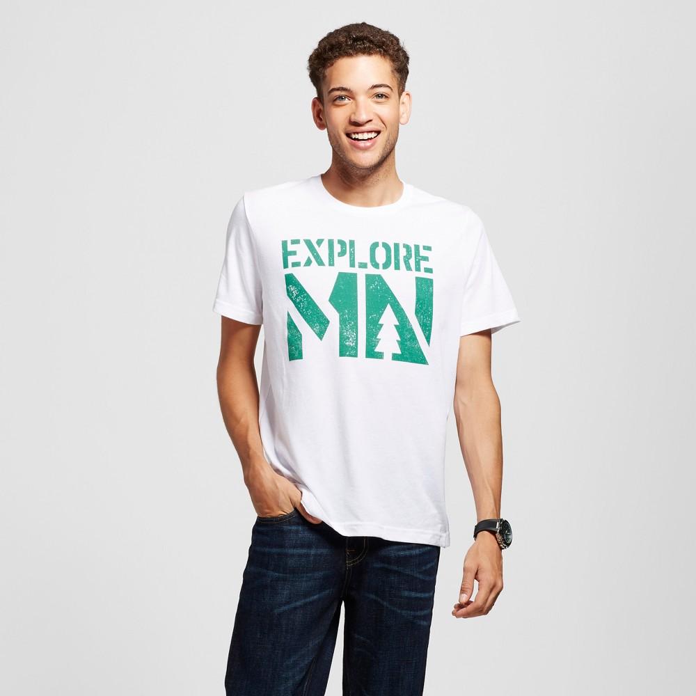Mens Minnesota Explore MN T-Shirt White L - Awake