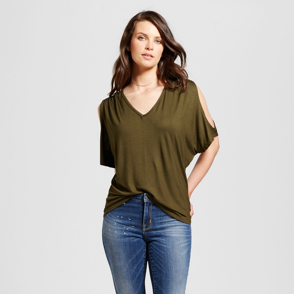 Womens V-Neck Cold Shoulder Top - Alison Andrews Green L