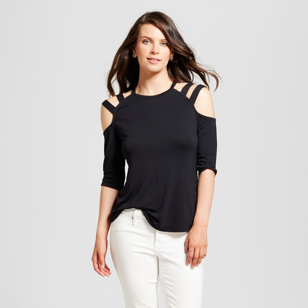 Womens Elbow Sleeve Strappy Cutaway Top - Alison Andrews - Black L