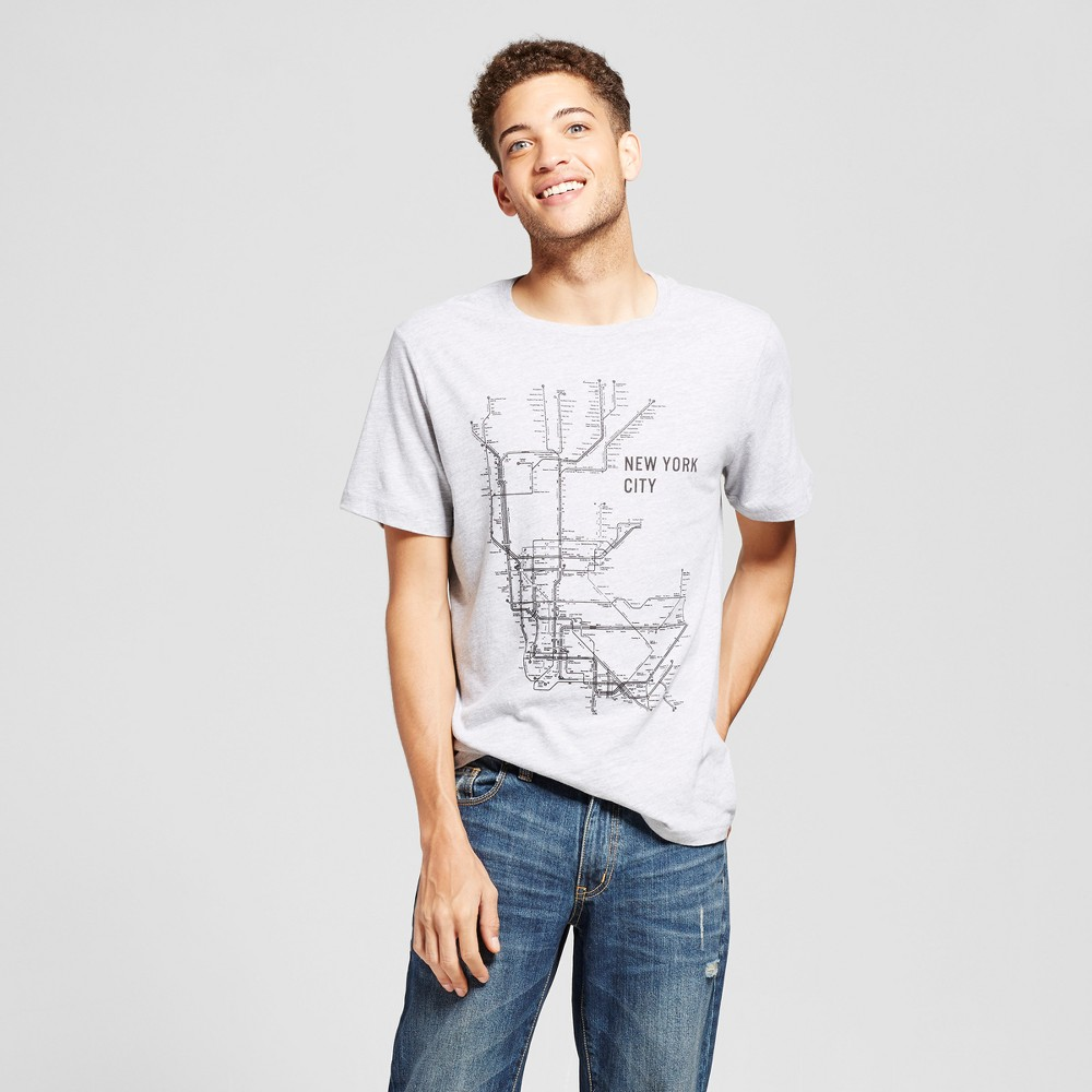 Mens New York Station Map T-Shirt Gray L - Awake