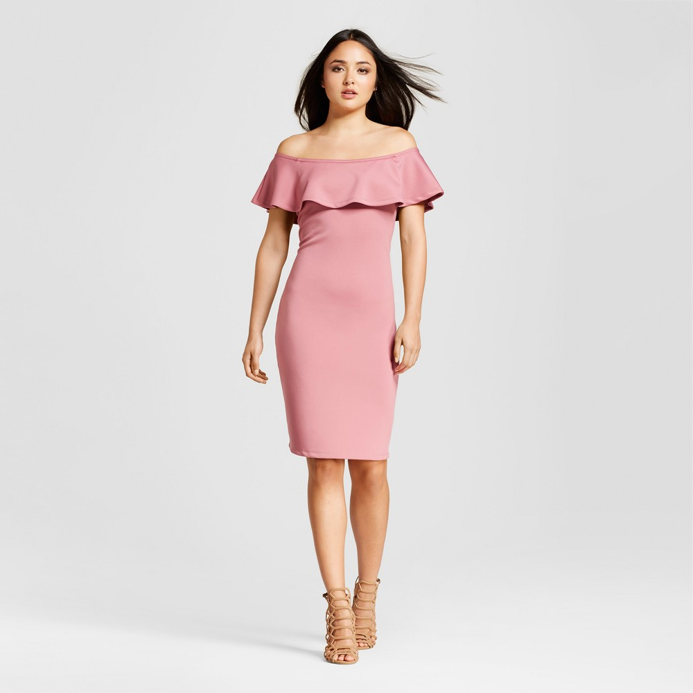 Womens Ruffle Off The Shoulder Sheath Dress - Alison Andrews Pink M
