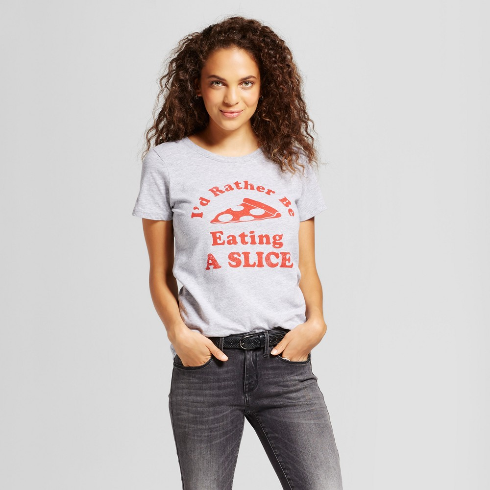Womens New York Id Rather Be Eating A Slice T-Shirt Gray XS - Awake