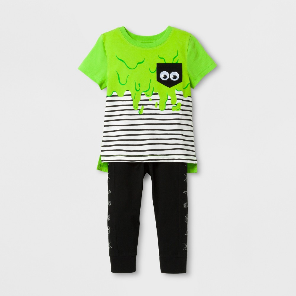 Top And Bottom Sets Cat & Jack August Green Black 3T, Toddler Boys