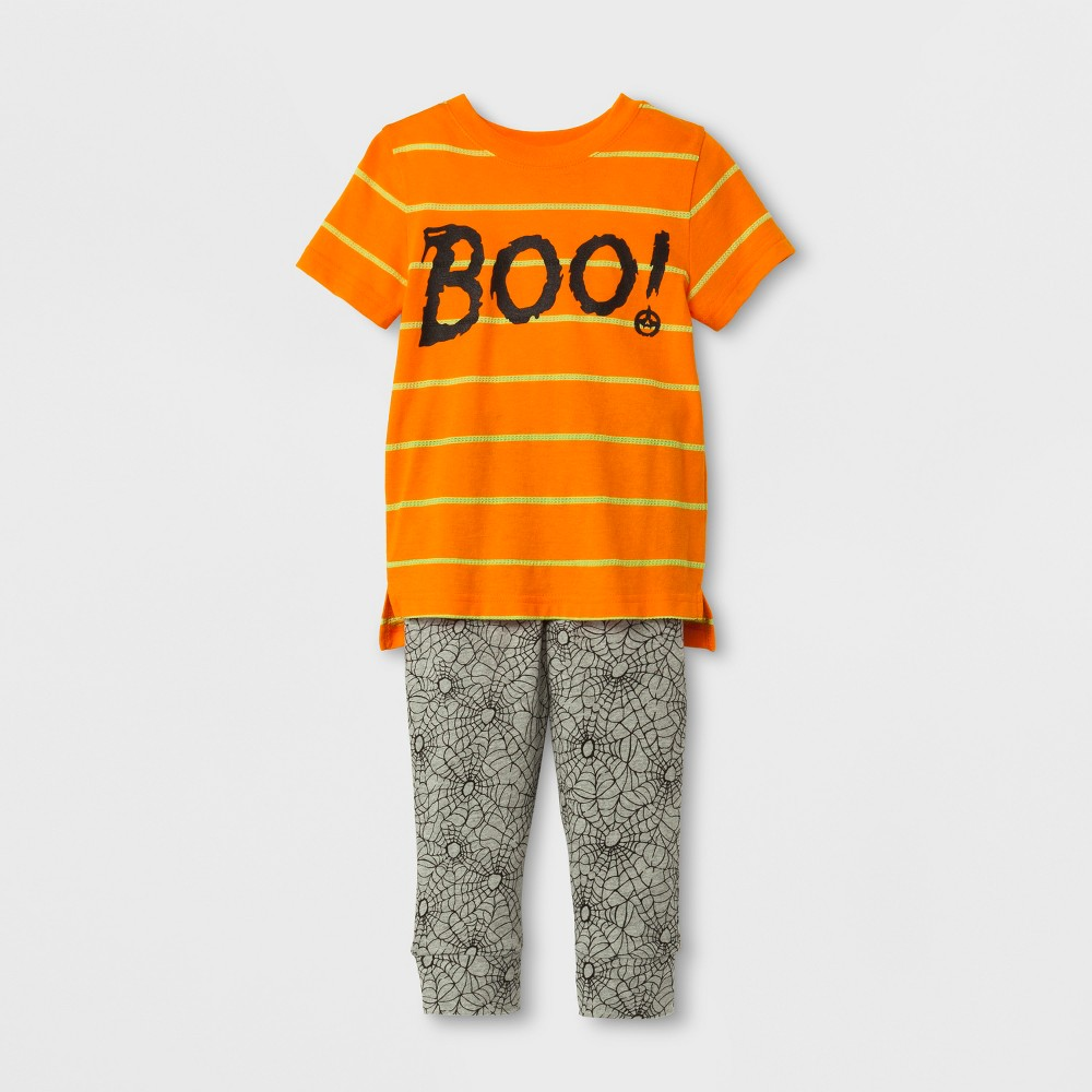 Top And Bottom Sets Cat & Jack Dizzy Orange Gray Graphic 2T, Toddler Boys, Orange Gray