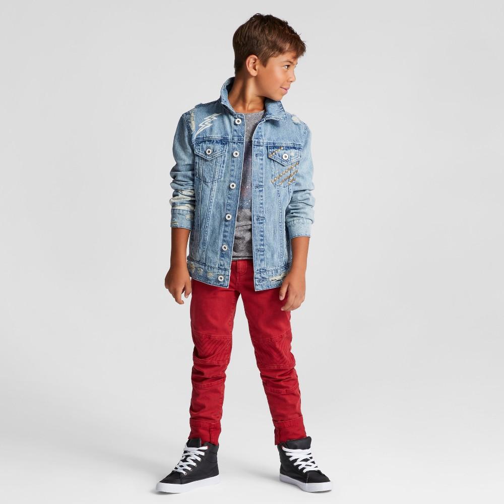 Boys Skinny Moto Chino Pants - Art Class Ruby Red 4