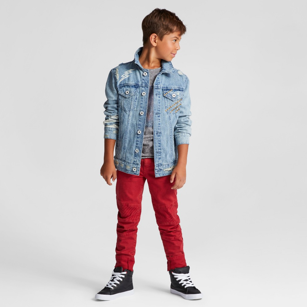 Boys Skinny Moto Chino Pants - Art Class Ruby Red 5