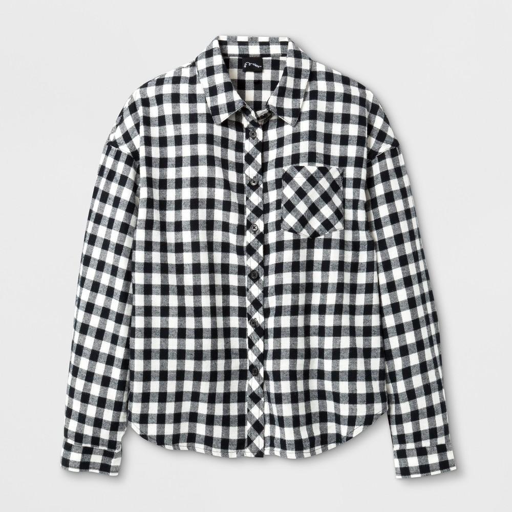 Girls Long Sleeve Flannel Shirt Art Class - Black XS