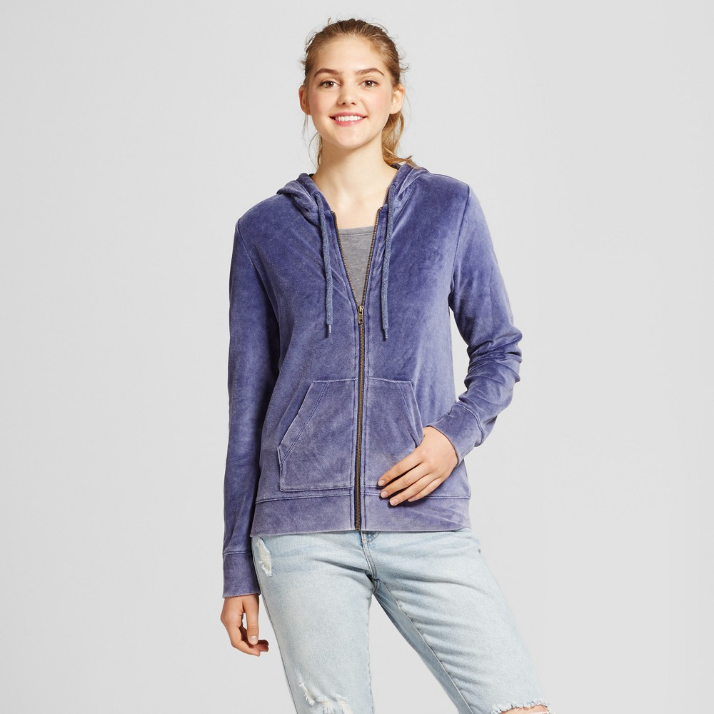 Womens Velour Hoodie - Mossimo Supply Co. Washed Navy XS