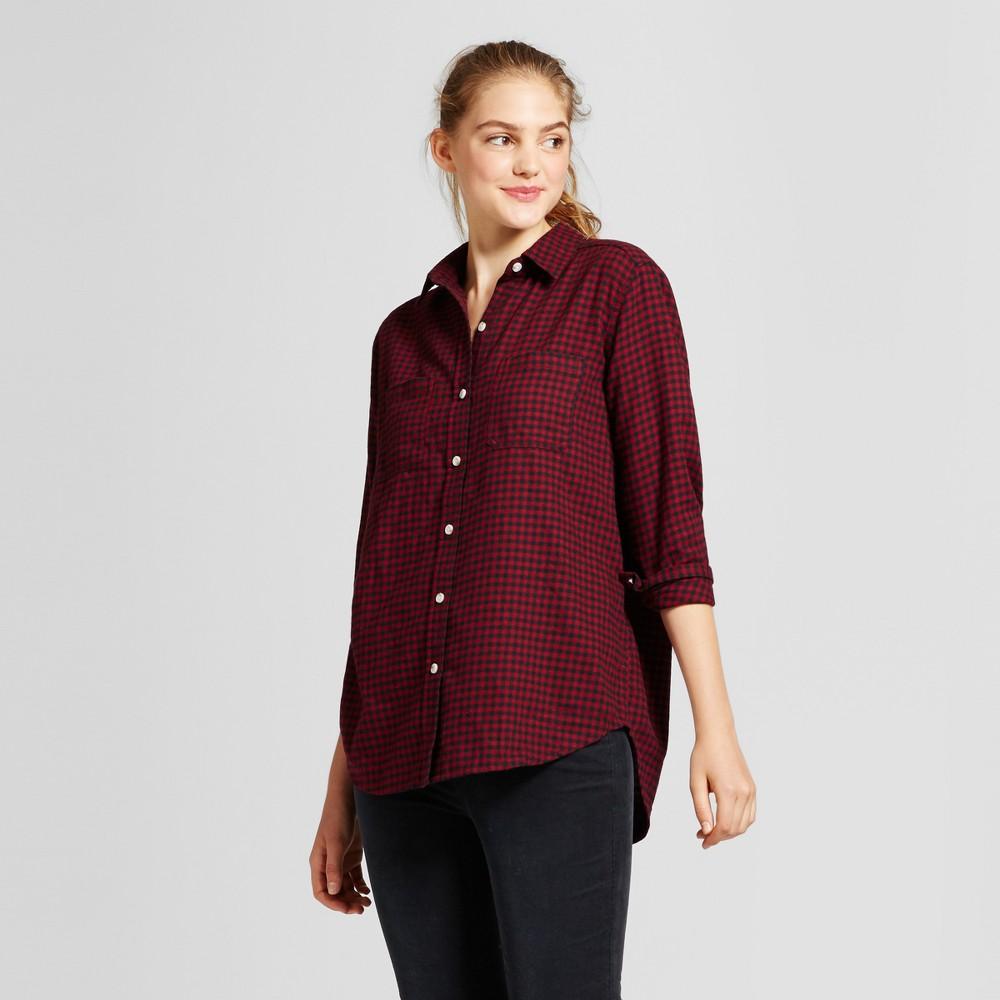 Womens Plaid Flannel Shirt - Mossimo Supply Co. Burgundy (Red) Xxl