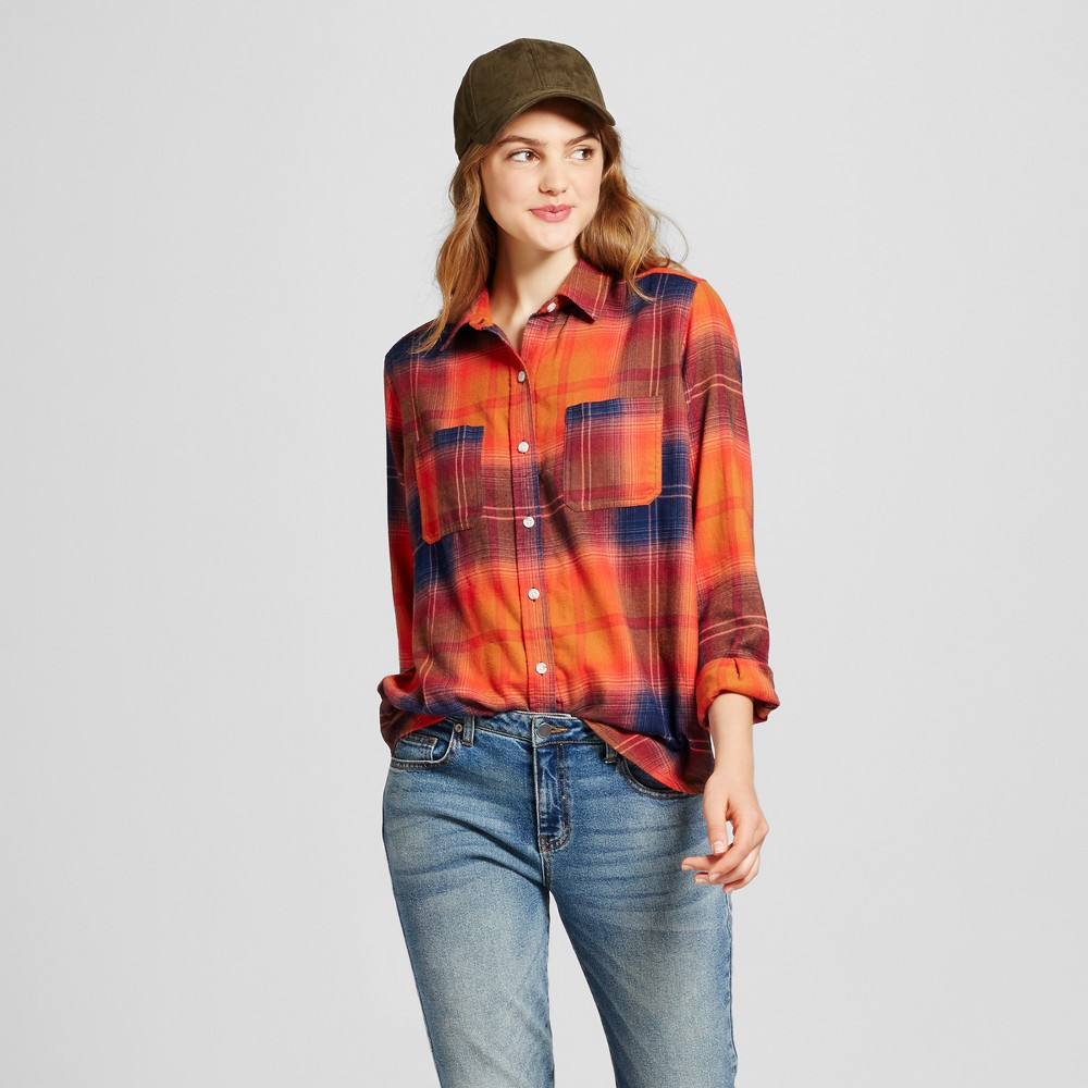 Women's Plaid Flannel Shirt - Mossimo Supply Co. Orange L
