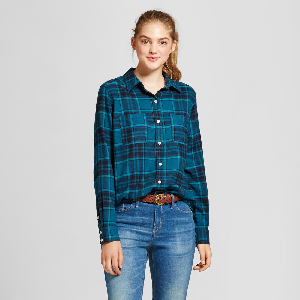 Womens Plaid Flannel Shirt - Mossimo Supply Co. Green XS
