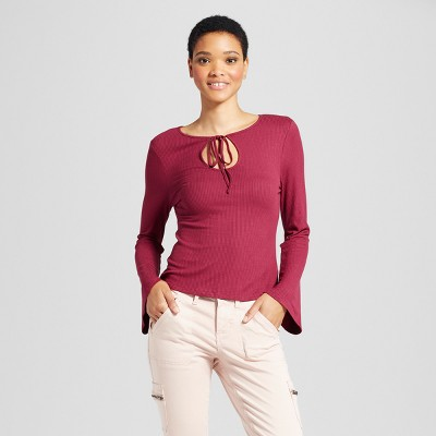 Womens knit keyhole bell sleeve long sleeve t shirt for Burgundy long sleeve t shirt womens