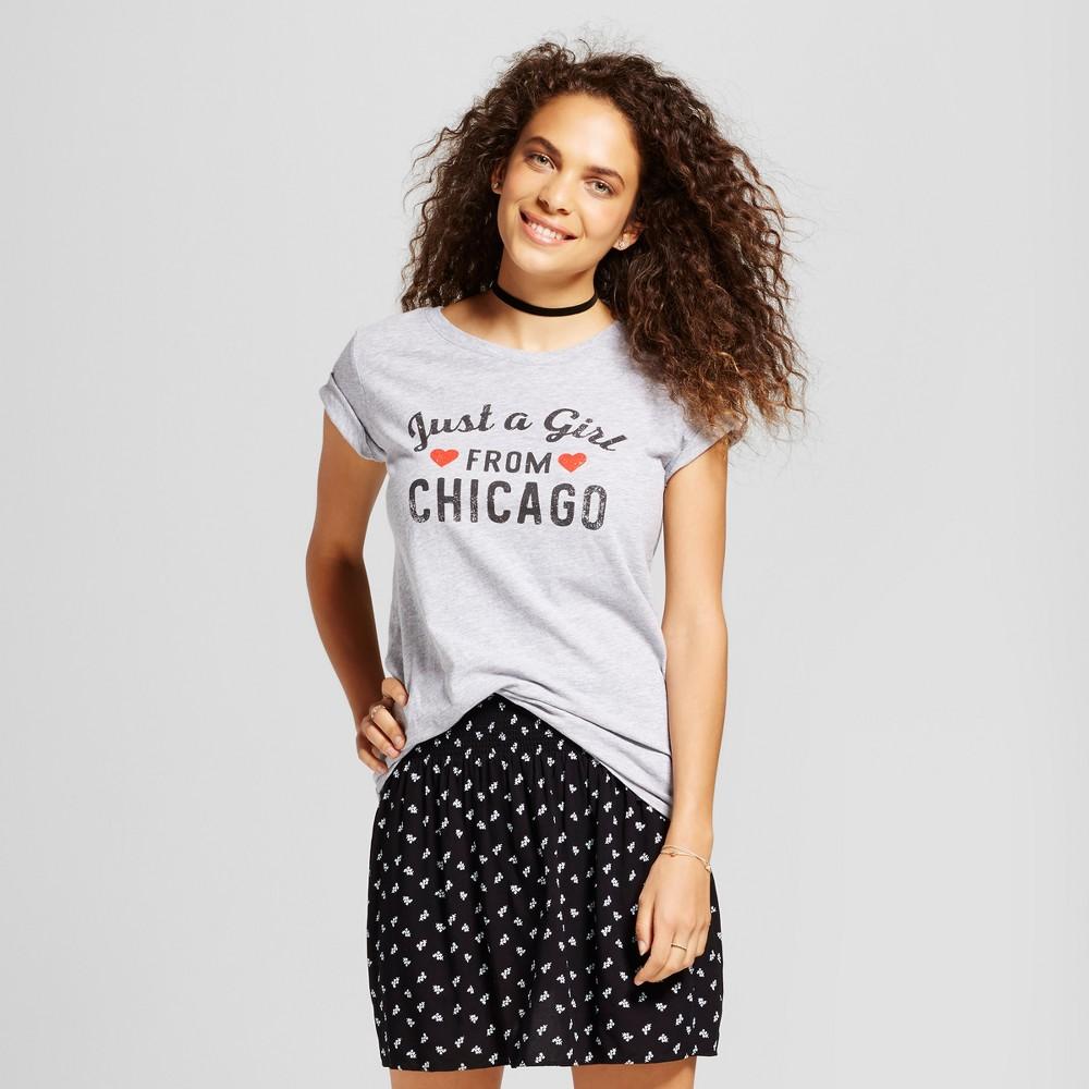 Womens Just A Girl From Chicago T-Shirt Gray Xxl - Awake