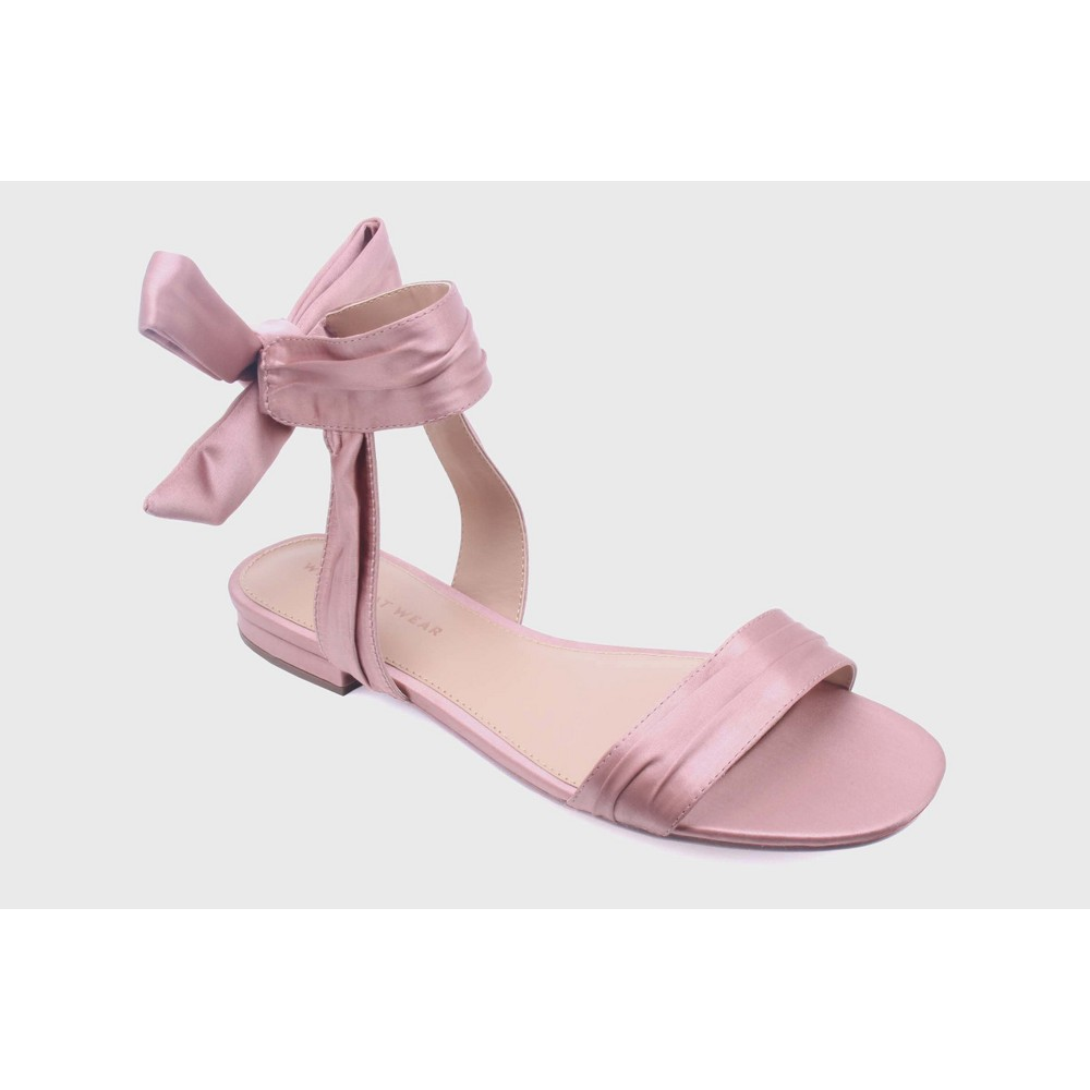 Womens Liana Satin Tie Back Ankle Wrap Sandals - Who What Wear, Size: 7, Blushing
