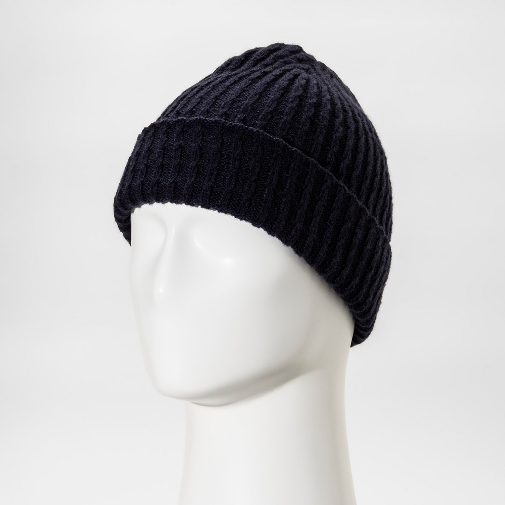Mens Cable Fisherman Beanie With Embroidered Grade A Patch - Goodfellow & Co Navy (Blue)