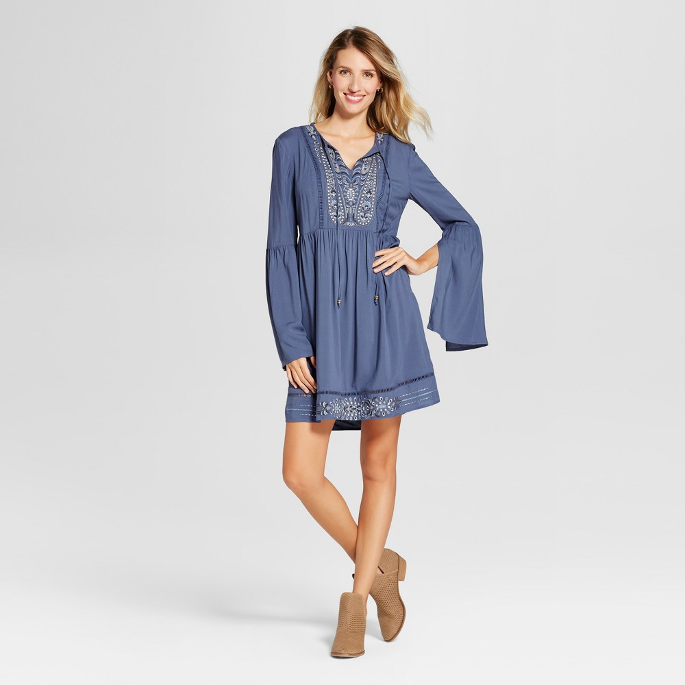 Womens Metallic Embroidered Bell Sleeve Dress - Knox Rose Dusty Blue M