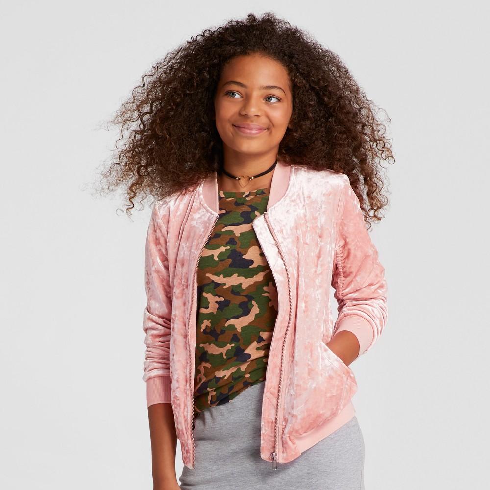 Girls Velvet Bomber Jacket - Art Class Charming Pink M