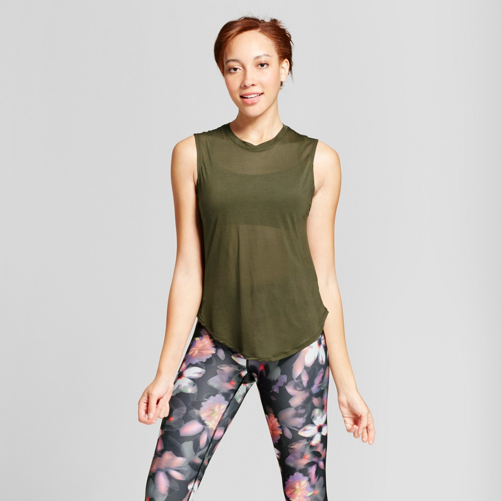 Womens Muscle Tank - JoyLab Deep Olive L