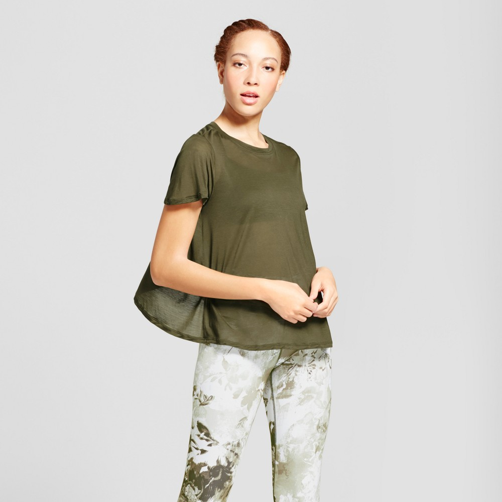 Womens Flutter Back T-Shirt - JoyLab Deep Olive XS