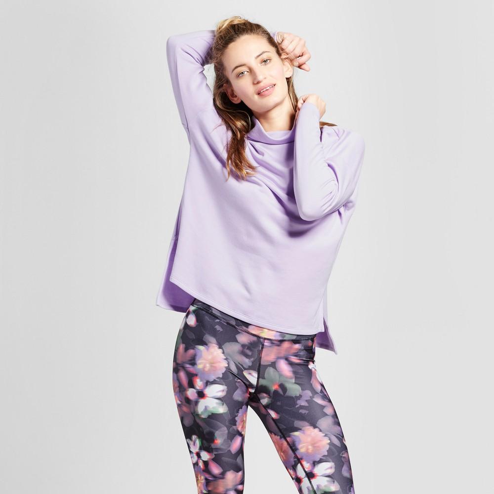 Womens Turtleneck Cozy Layering Sweatshirt - JoyLab Lavender Haze L